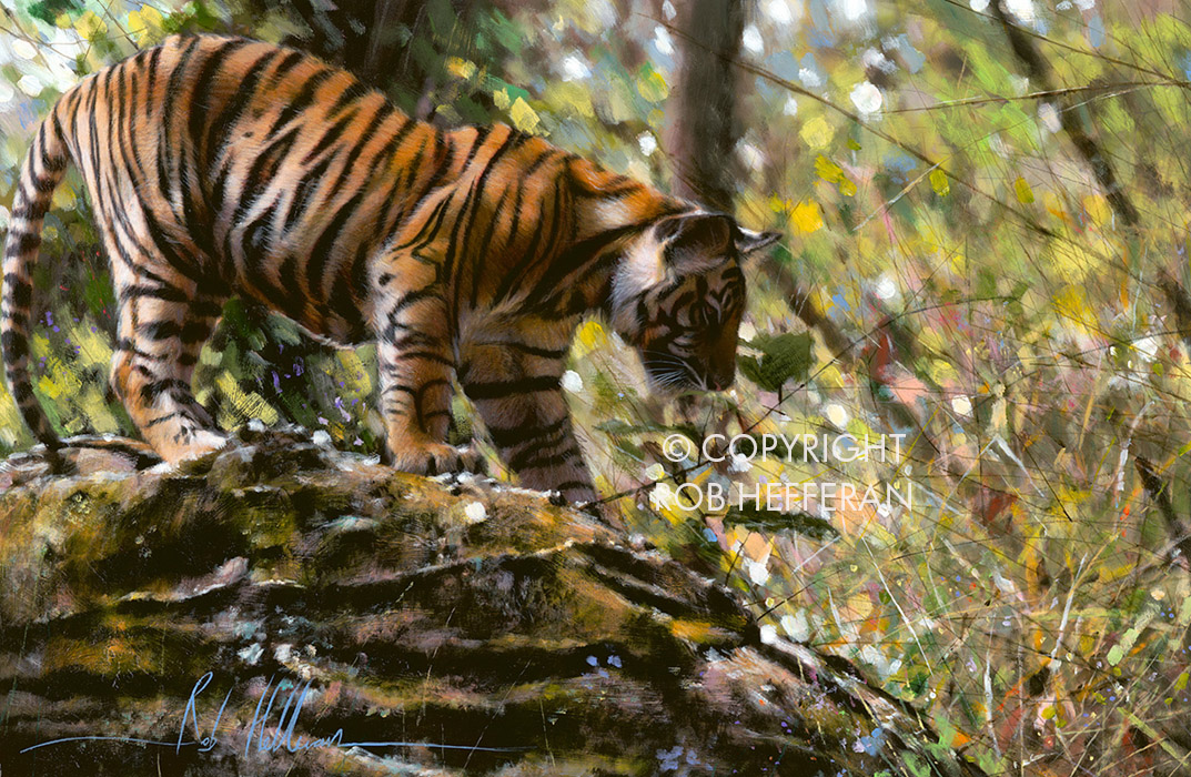 Painting of tiger in jungle
