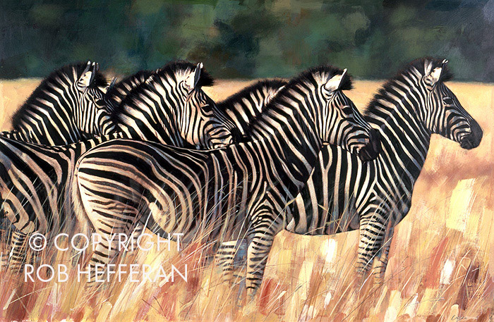 Painting of Zebras in the wild