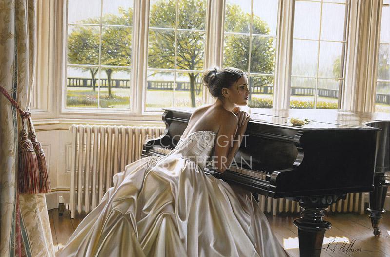 girl,wedding dress,piano,painting,rob hefferan